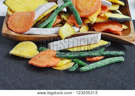 Healthy vegetable chips, dried, fried vegetables. dry green beans, eggplant dry, dry carrots and dried radish, pumpkin