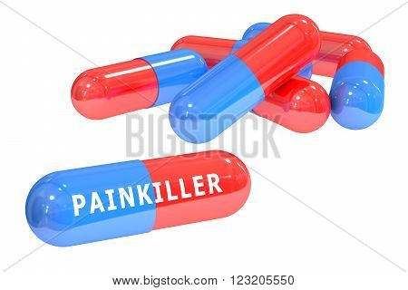 painkiller pills 3D rendering isolated on white background