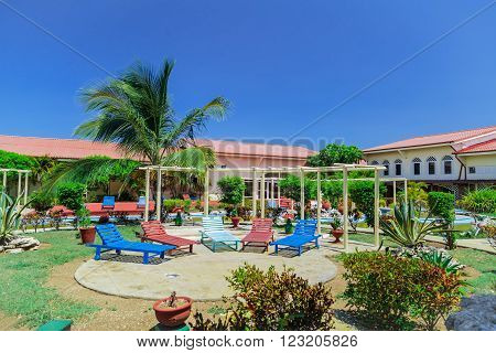 Cayo Coco island, Cuba, Sep 2, 2015 beautiful, inviting amazing gorgeous view of spa welcoming tropical garden and grounds on sunny beautiful day