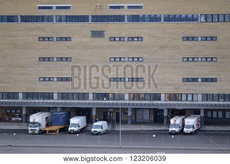 Stockholm, Sweden - March, 15, 2016: trucks on a parking in Stockholm harborn, Sweden