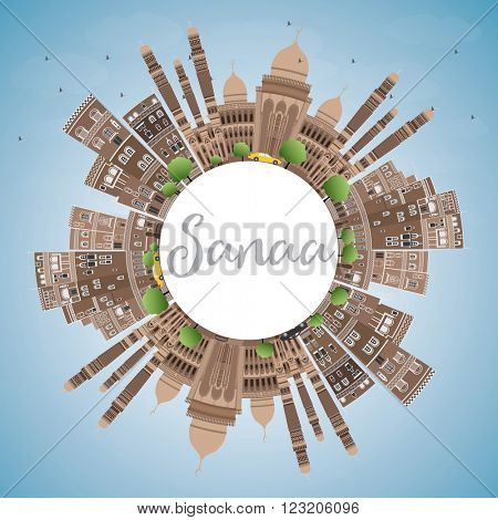 Sanaa (Yemen) Skyline with Brown Buildings and Copy Space. Business Travel and Tourism Concept with Historic Buildings. Image for Presentation Banner, Placard and Web Site.