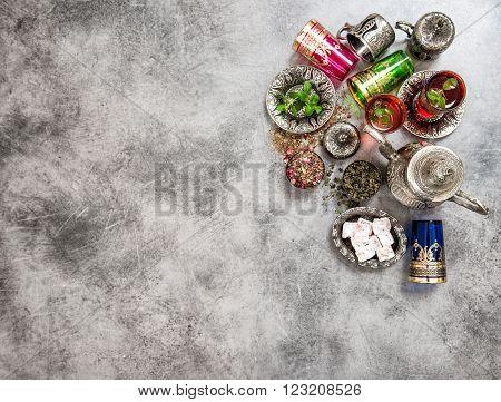 Festive tea table setting. Oriental hospitality. Eid Mubarak