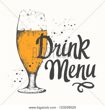 Glass of beer in sketch style for pub menu. Vector illustration with alcoholic beverages. Beer labels.