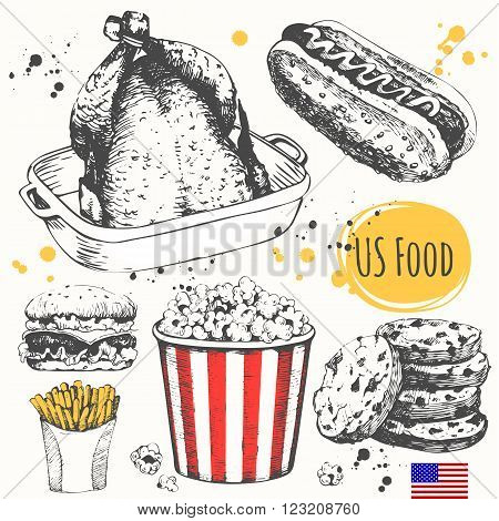 American traditional products. Vector illustration of ethnic cooking: burger, baked chicken, french fries, popcorn, american cookies.