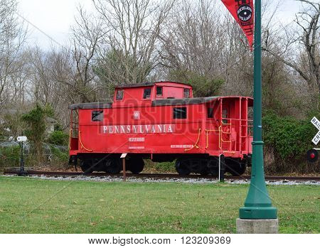 RICHLAND, NEW JERSEY  MARCH 21, 2016  A train caboose that has been retired and put on display.