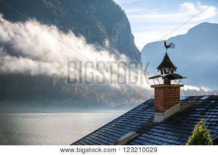Chimney Chicken and Fog - Hallstatt Austria