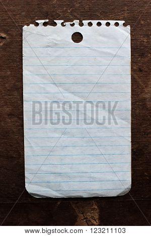 Vintage sheet of mini pocket notebook paper