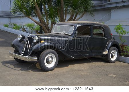 HO CHI MINH CITY, VIETNAM - DECEMBER 19, 2015: Retro car Citroen in the Ho Chi Minh city. Rare model retro car