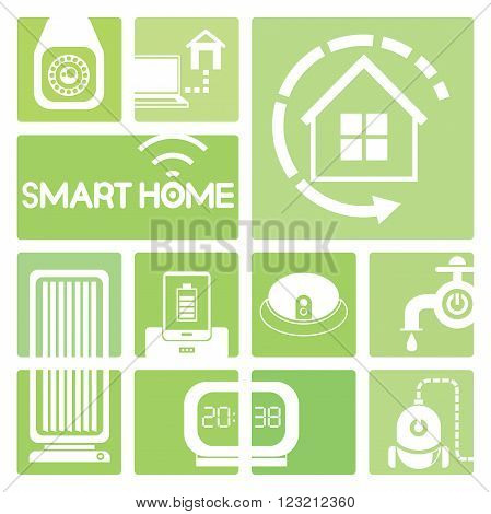 smart home device icons in green; cctv, air condition, alarm clock
