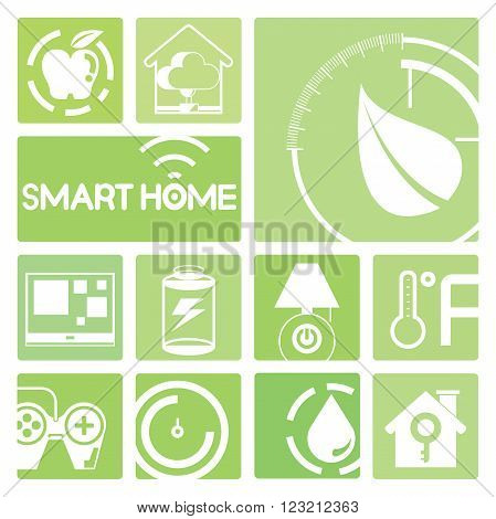 smart home device icons in green; meter, smart tv, lamp