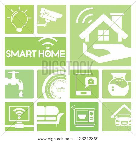 smart home device icons in green; light bulb, cctv, meter, and microwave