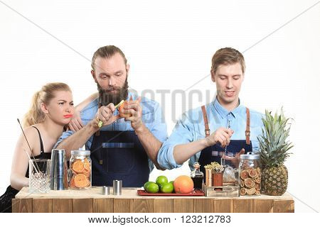 drunk girl clings to the bartenders. Isolated on white background