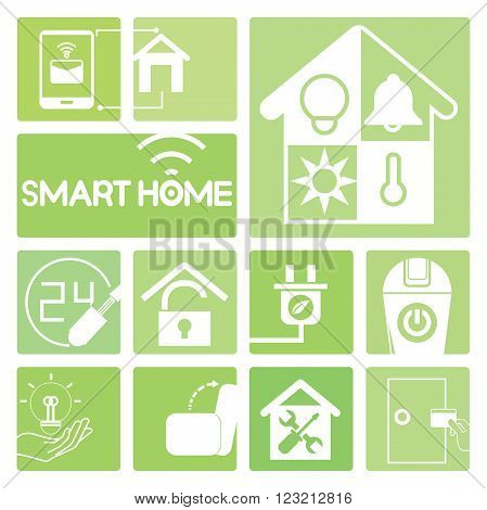 smart home device icons in green; electric plug, sofa, smart door
