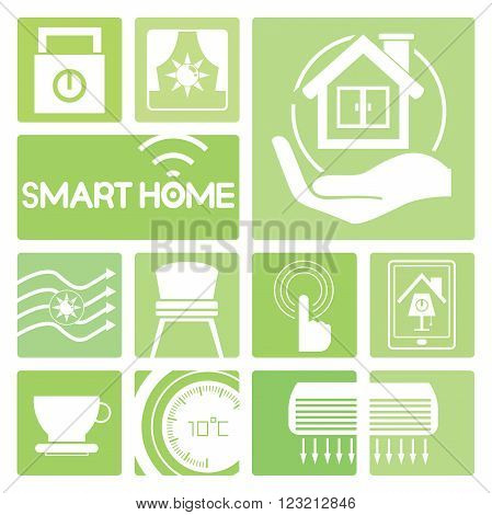 smart home device icons in green; air condition, thermostat, air flow control