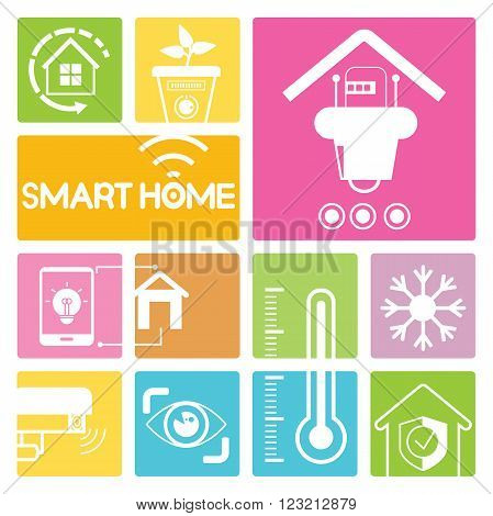 smart home and home automation icons in colorful buttons; robot, cctv, iris scan, home security