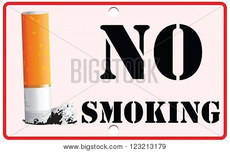Cigarette on the stand No Smoking Sign. Vector illustration.
