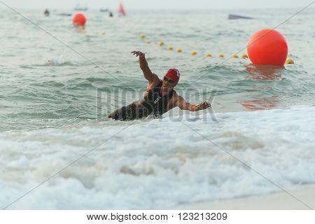 Phetchaburi Thailand - March 19 2016: The Amarin Outdoor Unlimited International Triathlon 2016 event at Naresuan Camp Cha-am beach in Phetchaburi.