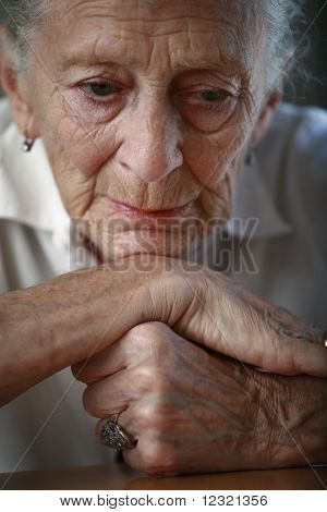 Sad senior woman