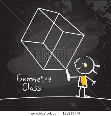 First grade geometry class education, hand drawn on blackboard with chalk. Hand drawing and writing doodle style, sketchy illustration.