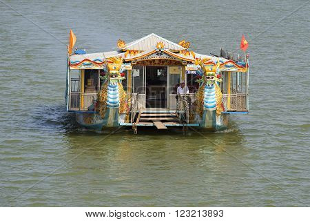HUE, VIETNAM - JANUARY 08, 2016: Tourist catamaran excursion on the Perfume River. Front view