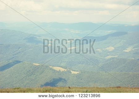 Mountain ranges of the Carpathians in the summer, with filter