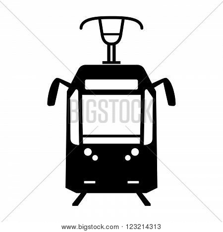 Tram, frontal view, shade picture on white background