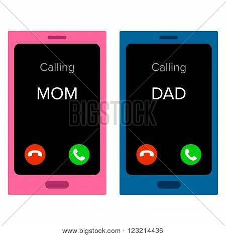 Telephones with incoming calls from Mom and Dad
