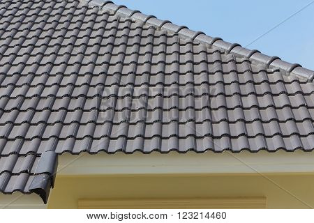 black rood tiles on house with blue sky