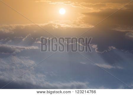 Beautiful Sky, Sunrise Above Blue Sky And Clouds, Light Rays Of Sunbeam