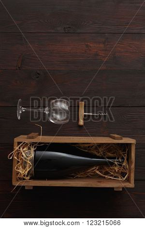 Red Wine Bottle, Glasses, Corkscrew, Flat Lay