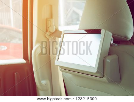 small tv led audio interior in car ** Note: Shallow depth of field