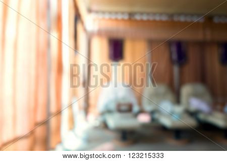blur background interior of massage room with sofa bed