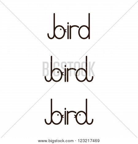 Set of bird lettering with letter b and stylized b isolated on white background. Logo template. Design element