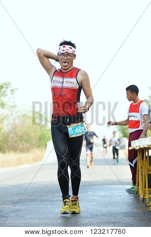 Phetchaburi Thailand - March 19 2016: The Amarin Outdoor Unlimited International Triathlon 2016 event at Naresuan Camp Cha-am beach in Phetchaburi.