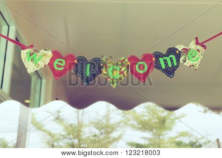 Welcome Message Heart Alphabet Hanging On Mirror