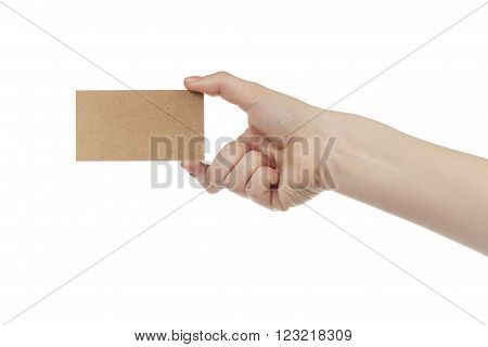young female right hand hold blank brown paper card, isolated on white