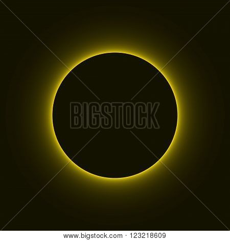 Vector eclipse of the sun, solar eclipse, space