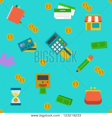 Endless colored cartoon flat shoping and banking background.