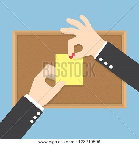 Businessman hands pin sticky notes on cork bulletin board VECTOR EPS10