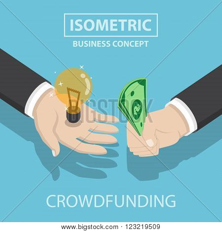 Isometric Businessman Hands Buy And Sell New Idea