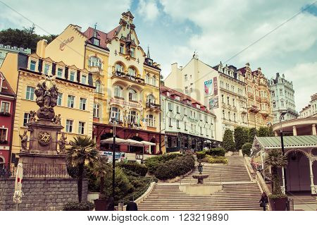 KARLOVY VARY, CZECH REPUBLIC - MAY,15, 2015: street view in Karlovy Vary hotels in Karlovy Vary Carlsbad Czech Republic Europe