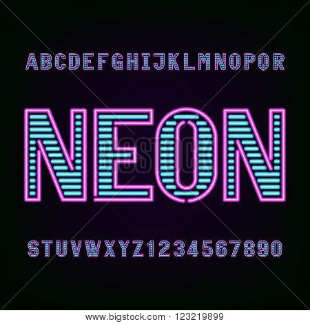 Neon tube light alphabet font. Type letters and numbers on a dark background. Vector typeface for labels, titles, posters etc.
