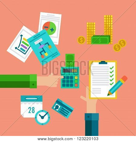 Flat concepts for taxes finance bookkeeping and accounting.