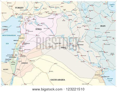 administrative, political and road map of the middle east