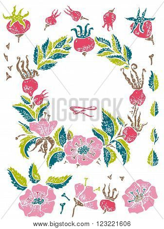 Wild rose linocut vector set for hipster design