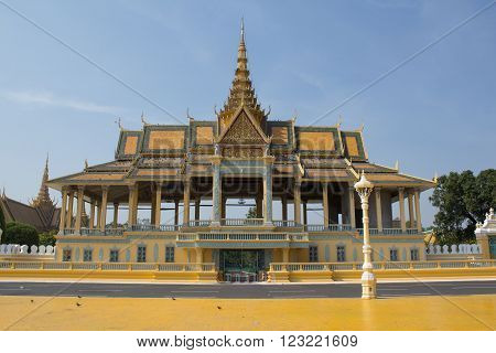 PHNOM PENH CAMBODIA - January 01, 2014: The Royal Palace is a complex of buildings which serves as the royal residence of the king of Cambodia.