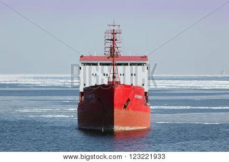 Vladivostok, Russia - February 6th, 2016: Vladivostok, road of the port of Vladivostok, anchorage of sea vessels, the tanker TAGANROGA.