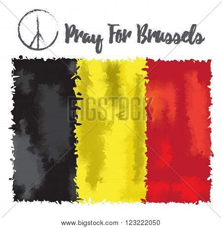 Vector illustration Pray for Belgium 22 March 2016. Tribute to the victims of terrorictic attacks in Brussel. On Belgium flag watercolor style backround