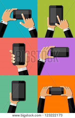 Hands holding mobile phones. EPS10 vector illustration.