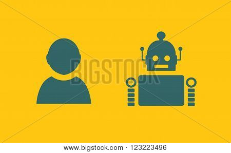 Cute vintage robot and human. Robotics industry relative image.